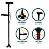 Clever Cane With LED Light, Security Alarm, Two Handles - Foldable, Adjustable, Light Weight Walking Stick For Men or Women