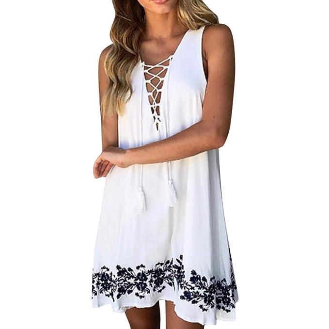 d3fdbf0602ca Womens Summer Lace Up Mini Dress Sleeveless V Neck Casual Midi Dresses  A-Line Beach Floral Print Tunic Top Dress: Amazon.ca: Clothing & Accessories