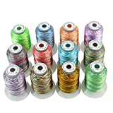 New Brothread 12 Colors Variegated Polyester Embroidery Machine Thread Kit 500M (550Y) Each Spool for Brother Janome Babylock Singer Pfaff Bernina Husqvaran Embroidery and Sewing Machines