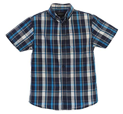 - Gioberti Little Boys Plaid Short Sleeve Shirt, Turquoise/Navy/White, Size 4