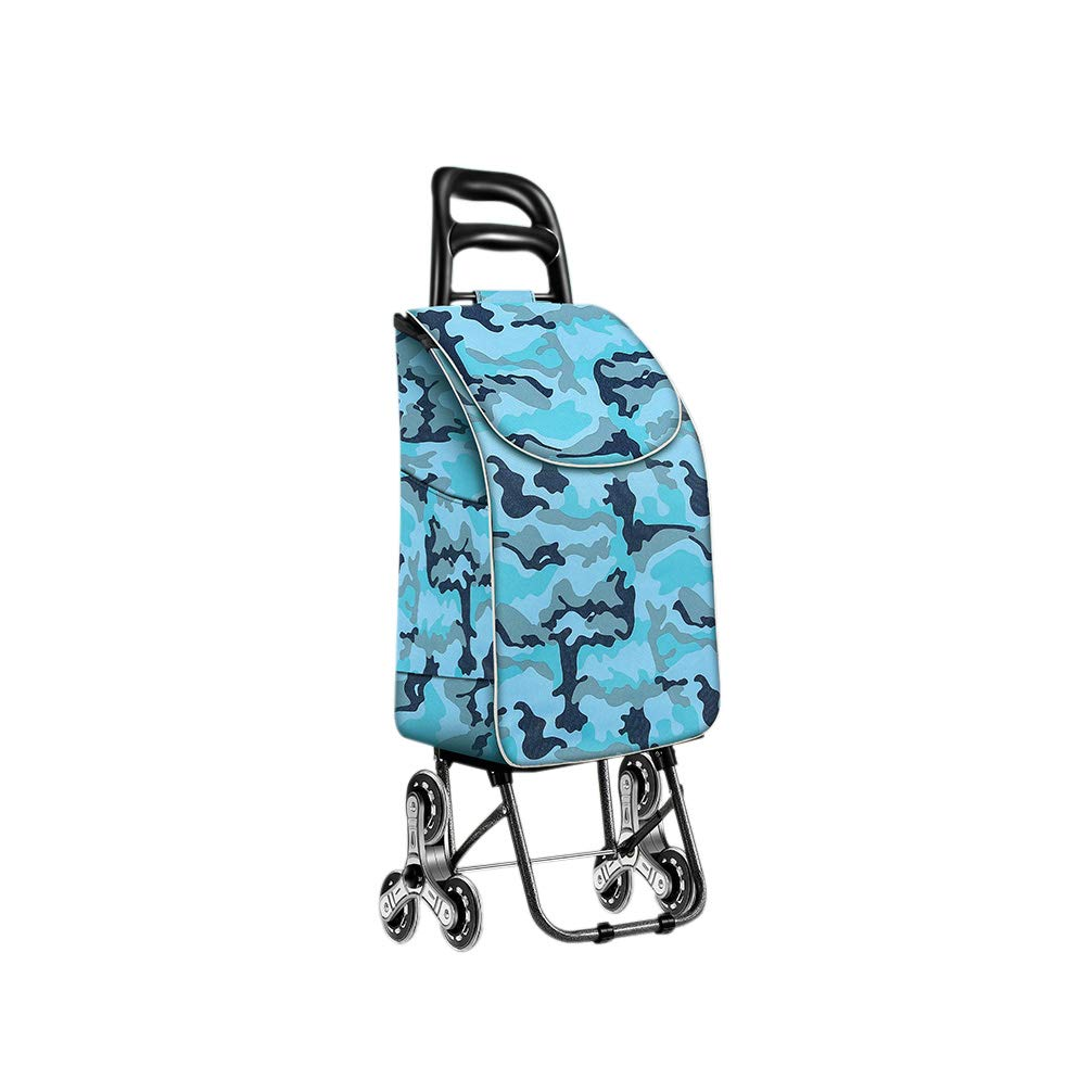 TK® 野菜車の買物をするショッピングトロリー上昇階段折り畳み式の買物車 (色 : Blue camouflage)  Blue camouflage B07PHJGPPC