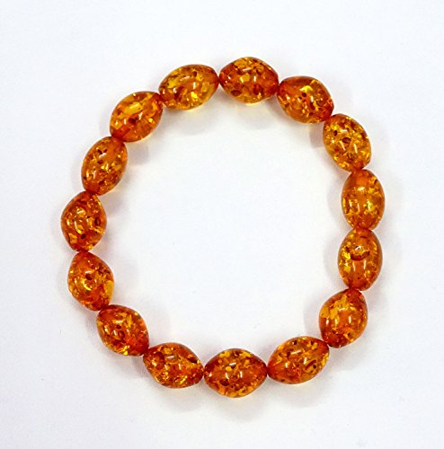 Amber Stretch Bracelet, Baltic Amber/Honey Amber Bracelet Designer Rare 10 mm Smooth Beads Cognac Orange color For Gift Sale ()