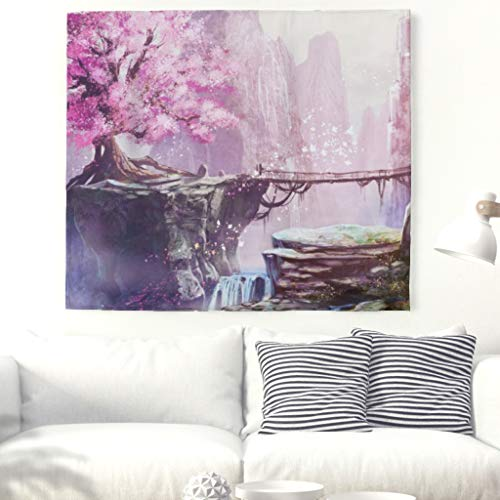 (KASTLEE Fantasy Tapestry Wall Hanging Psychedelic Tapestries Painting Cherry Blossom Blanket Art Wall Home Decor Collage Dorm Decoration White 91x59inch)