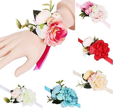 Rose f/ür Brautjungfern blau 7cm Armband und Knopfverschluss Cratone Handgelenk-Corsage mit Blume