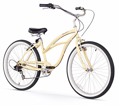 Firmstrong Urban Lady 7-Speed Beach Cruiser Bicycle, 26-Inch, Vanilla