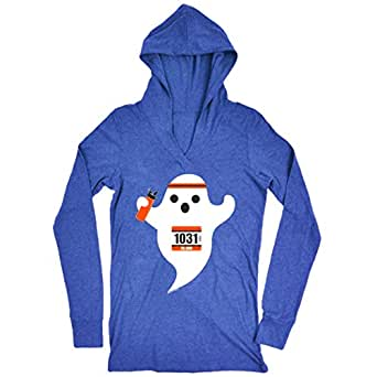 Gone For a Run Women's Lightweight Performance Hoodie Faster Than Boo Adult Small (Blue)