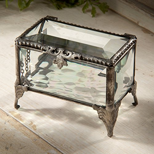 Glass Treasure Box - J Devlin Box 310 Beveled Glass Jewelry Chest Decorative Trinket Box Keepsake Gift