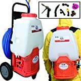 Petra Powered Backpack Sprayer with Custom Fitted Cart and 100 Foot Commercial Hose, 2 Hoses Included, Commercial Quality Heavy Duty Sprayer ... (HD5000-Cart-Sprayer, Orange)