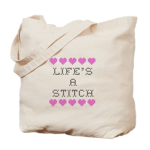 CafePress - Life's A Stitch - Cross Stitch - Natural Canvas Tote Bag, Cloth Shopping Bag ()