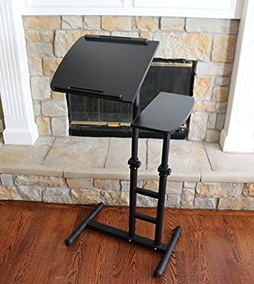UNICOO - Height Adjustable Laptop Cart U03 (Black Wood Surface)