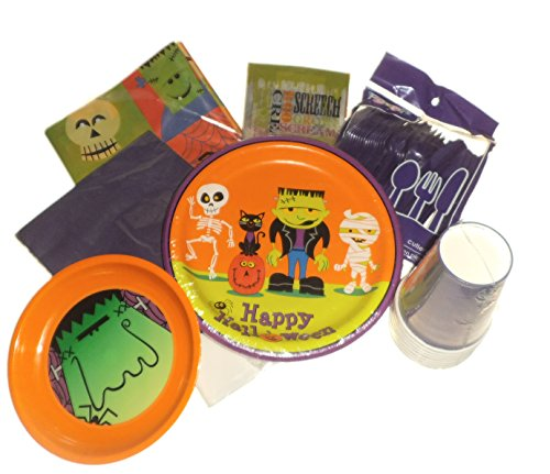 Frankenstein Monster Mummy Halloween Party Supplies -Plates, Napkins & Cups. Plastic Silverware, Tablecover, Goodie Bags & Snack (Halloween Frankenstein Snacks)