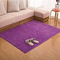 Ustide Purple Livingroom Carpet Coral Fleece Rug Memory Foam Rugs Set Modern Solid Bedroom Carpet New Non-slip Sofa Rugs 31X47