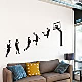 She-love Sport Wall Sticks, Basketball Players Wall Decal, Peel & Stick Vinyl Sheet, Easy to Install & Apply History Decor Mural for Home, Bedroom Stencil Decoration (Large)