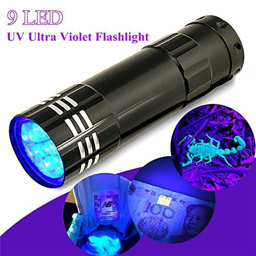 Sumanee 9 LED Mini Black Aluminum UV Ultra Violet Flashlight Blacklight Torch Light Lamp