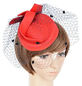 Womens Fascinator Hat C Red At Amazon Women S Clothing Store