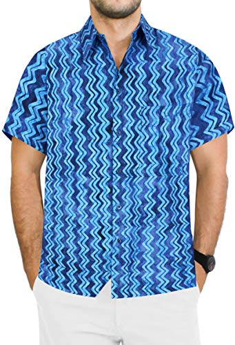 LA LEELA Hawaiian Shirts for Men Beach wear XL|Chest 48