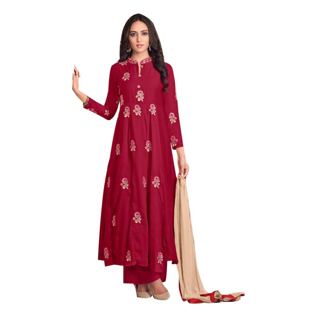 Magenta Ethnic Eid special Designer Maslin Plazo style Salwar Kameez Suit Women Evening Party wear Bespoke 7895 5