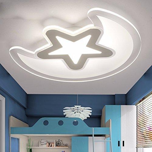 Unbekannt Set Tischlampe-Modern und minimalistisch Sterne Mond kreative schlanke Deckenleuchte führte Schlafzimmer Kinderzimmer Lampen,Durchmesser der DREI Farbtemperatur 43cm-