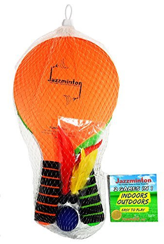 Funsparks JM1100Jazzminton Lite 2 In 1 Paddle Ball Game - All-Season Indoor/Outdoor Racquet Game For Active Play