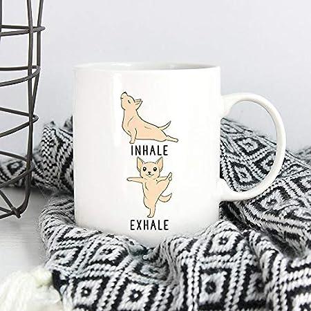 DKISEE Inhale Exhale Chihuahua Yoga Coffee Mug, Yoga Teacher ...