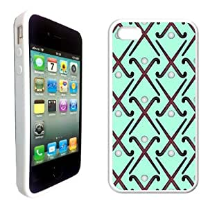 Field Hockey Aqua Silicon White Bumper iPhone 4 Case Fits iPhone 4 & iPhone 4S by icecream design