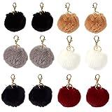 12-Piece Fur Pom Pom Keychains - Faux Fur Fluffy Keychains for...