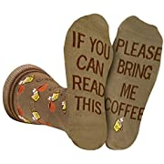 Bring Me Coffee Socks Men Women, If You Can Read This Luxury Cotton Designs, Great Gift (Large)