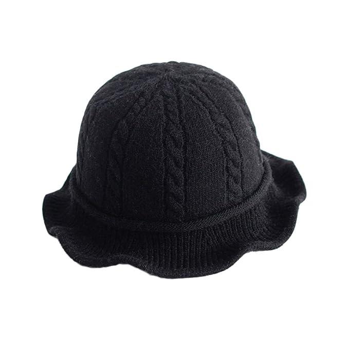 d47b9427f8b0c Vpang Winter Knitted Wool Hat Women Bucket Hat Foldable Bow Warm Soft  Cloche Cap (Black
