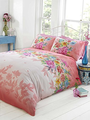 PINK FLORAL BUTTERFLIES FADING SILHOUETTE COTTON BLEND PINK PURPLE USA TWIN COMFORTER COVER (135X200CM - UK - Silhouette Butterfly
