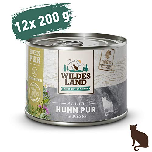 Wildes Land – Nassfutter für Katzen – Nr. 3 Huhn PUR – 12 x 200 g – Getreidefrei – Extra viel Fleisch – Beste Akzeptanz…