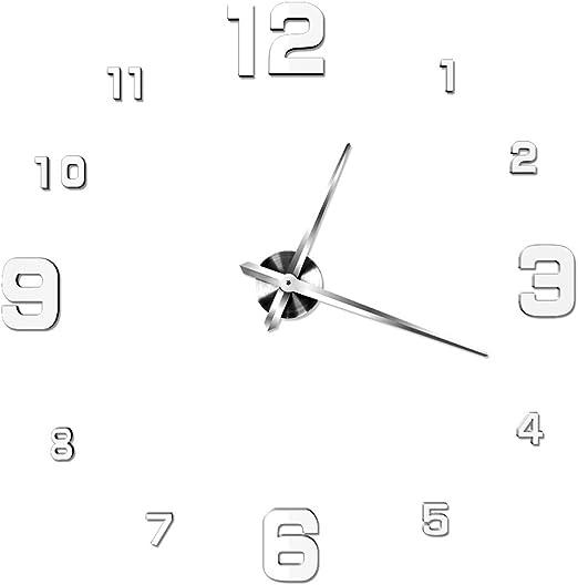 NUOLUX DIY 3D Wanduhr Dekoration Uhr Große Wanduhr 3D Spiegel Oberflächen Große Uhr Zimmerdeko (Silberweiß)