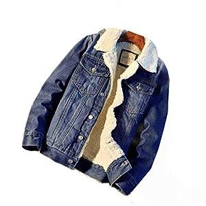 Men's Fleece Denim Anorak Jacket Sherpa Lined Thickened Jean Jacket