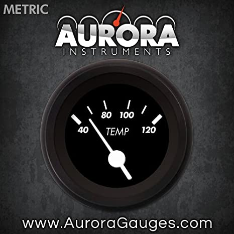 White Vintage Needles, Black Trim Rings, Style Kit Installed Aurora Instruments 4812 Marker Black Metric Water Temperature Gauge