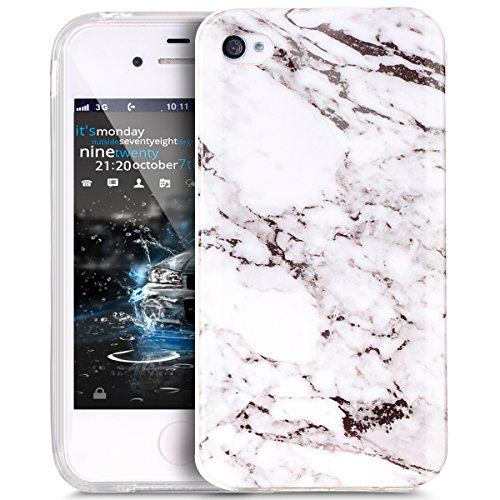 iPhone 4S Case,iPhone 4 Case,ikasus iPhone 4 / 4S case Marble,Glossy Marble Texture Ultra Slim Thin Flexible Soft Silicone TPU Bumper Rubber Protective Case Cover for iPhone 4S / 4 - White Black
