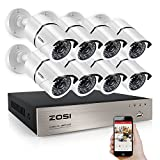 ZOSI 8 Channel Full 1080P HD-TVI Surveillance DVR System,8pcs 1980TVL Weatherproof Indoor/Outdoor Security Cameras NO Hard Drive White, 100ft IR night vision, Motion Detection and Remote Playback