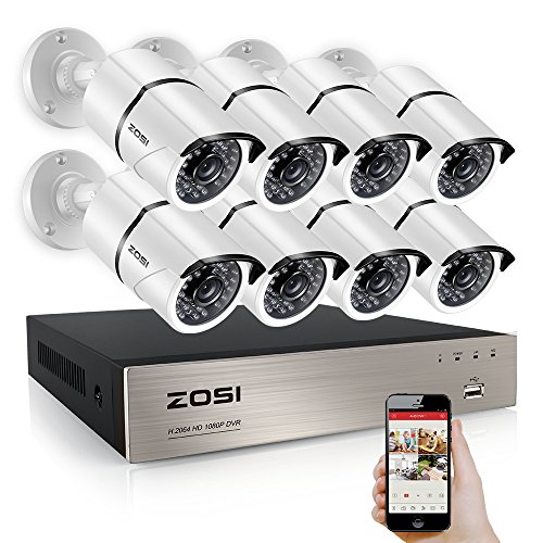 Detection Systems (ZOSI 8 Channel Full 1080P HD-TVI Surveillance DVR System,8pcs 1980TVL Weatherproof Indoor/Outdoor Security Cameras NO Hard Drive White, 100ft IR night vision, Motion Detection and Remote Playback)