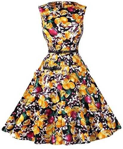 Donne Hepburn 17 Jaycargogo Da Stampa Estate Senza Maniche Vestito Stile Del Cocktail Delle Floreali 4g57q