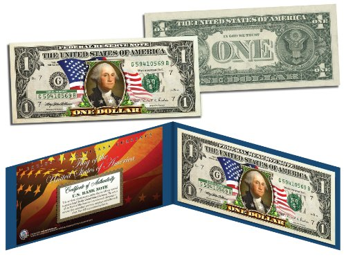 United States of America *Flowing Flag* Legal Tender $1 Bill COLORIZED Currency - Federal Reserve Note Blue Seal