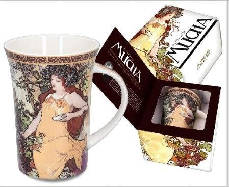 Alphonse Mucha Paintings - Carmani Alphonse Mucha Mug showing Seasons Series Painting Autumn in a Gift Box