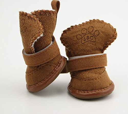 CoCocina Snow Boots For Dog Autumn Winter Shoes Anti-Slip Small Animals Protective Oxford Material Keep Warm-Coffee-#3