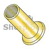 Metric Flat Head Round Open-End Rivet Nut Steel Zinc Yellow Dichromate M4 x 0.7 x 2.00 (Box of 2000) weight5.75Lbs