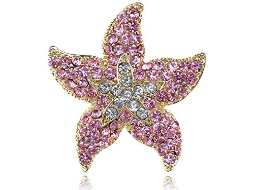 Alilang Rose Pink Ocean Starfish Stargazer Lily Flower 5 Points Crystal Rhinestone - Pink Flower Ring