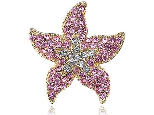 Alilang Rose Pink Ocean Starfish Stargazer Lily Flower 5 Points Crystal Rhinestone Ring ()