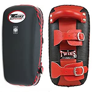 Twins Special Muay Thai Boxing Kicking Kick Pads Belt KPL-1 (Belt Black/Red,Small)