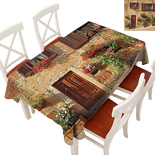 (Anyangeight Tuscan Flow Spillproof Fabric Tablecloth Picturesque Lane with Mediterranean Architecture Flowers Italian Town Tablecloth Thick Original RestaurantBrown Pale and Brown 60