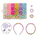Kid Bead DIY Colorful Plastic Jewelry Making Kit 24 Compartments Bracelets Making Bead Art Kit in PVC Box as Gift for Children Girls 400 Pieces