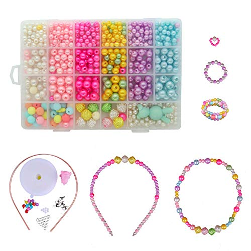 Kid Bead DIY Colorful Plastic Jewelry Making Kit 24 Compartments Bracelets Making Bead Art Kit in PVC Box as Gift for Children Girls 400 Pieces by MengH-Store