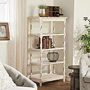 "Deco 79 44419 Tall Distressed White Wood Bookshelf with Pierced Metal Interior Shelves & Turned Column Frame, 30"" x 55"""