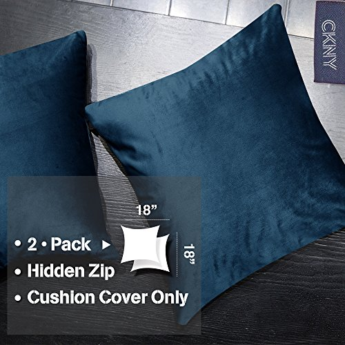 jinchan Decor Velvet Textured Cushion Covers Square Throw Pillow Sham for Living Room, 18x18, one pair, Navy Blue (Pillow Shams Navy Blue Velvet)