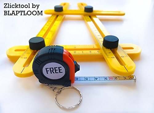 Bonus With Steel Measuring Tape - ZlickTool Angle Ruler & Finder - Quickly & Accurately Locates & Measures Angles - Angleizer Template Tool for Designers, Architects, Woodworkers & Carpenters